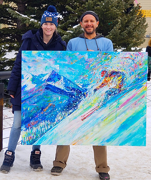 With US Ski and Snowboarder, Annalisa Drew who purchased this piece for her home.  She was the first woman to land a 1260 in the half pipe, won a bronze in the X-Games, and placed 4th in the 2018 Olympics.