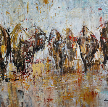 THE GATHERING 24X36X2 ACRYLIC $3,300 sold