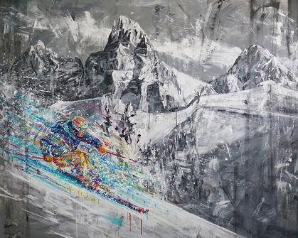 Teton Powder Haven . 48 x 60 . acrylic