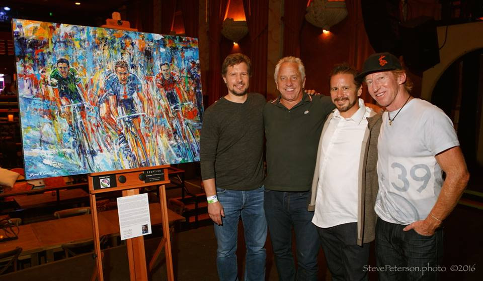 """With Greg LeMond, Chris Anthony and winner of the painitng """"Eruption"""""""