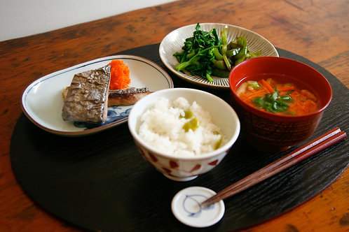 Miso Zuke Yaki : Oven-baked miso marinated Pink fillet Teishoku