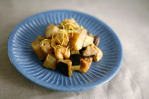 Shallow-fried eggplant with Lemon Miso sauce Teishoku (V)