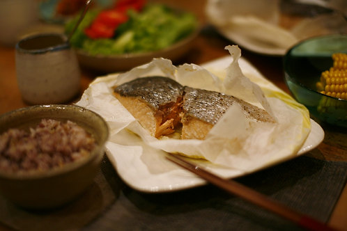 Mushi Yaki : Paper-bagged Salmon bake Teishoku