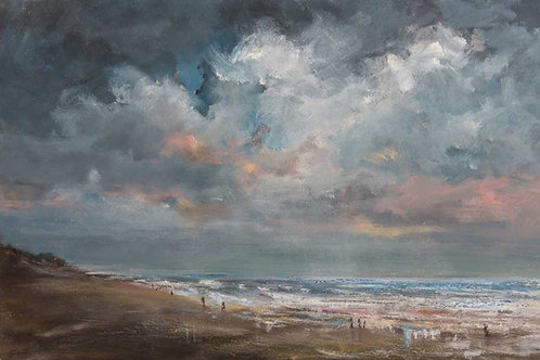 Winter beach December in oil