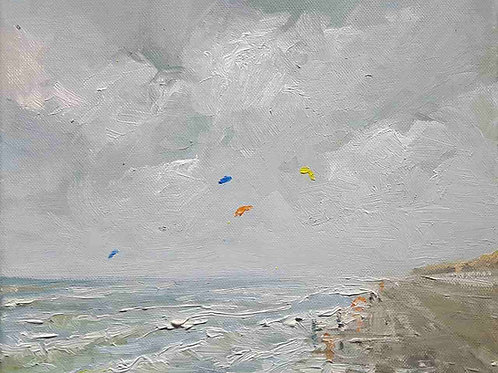Grey and rainy beach scene in oil