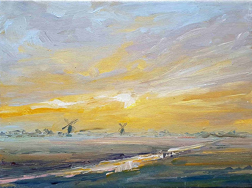 Winter landscape with windmills 1