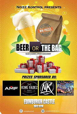 Noize Kontrol Prize giveaway beer or the bag quiz game
