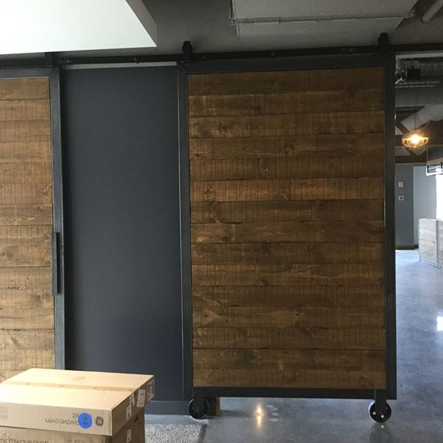 Doors are installed! #knockonwood #knockonwoodantiques #metalwooddoors #barndoors #ct #nyc #jagermei