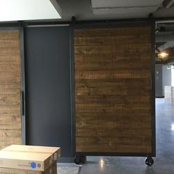 Doors are installed! #knockonwood #knockonwoodantiques #metalwooddoors #barndoors #ct #nyc #jagermei