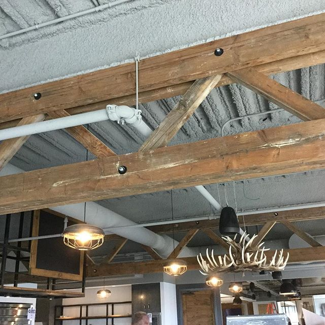Our wood trusses are up on a job we are working on as well as our chicken feeder lights
