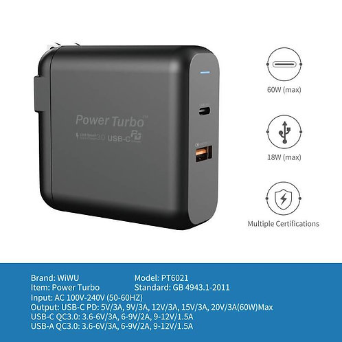 Power Turbo PT6021, PT3621. Dual Port Wall Charger, with PD & QC fast charge
