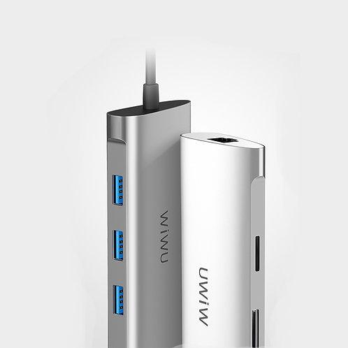 WiWU Alpha 631STR USB C hub 6-in-1 portable to 3* USB 3.0, RJ45, SD TF card