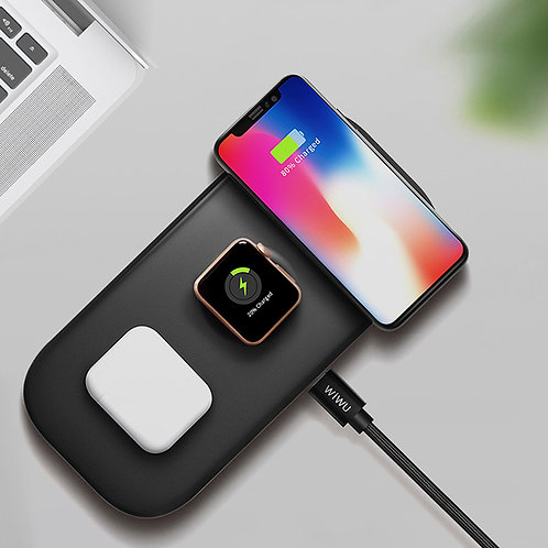 WiWU M2  wireless charger Slim 3 in 1 Desktop 18W for phone watch and earphone