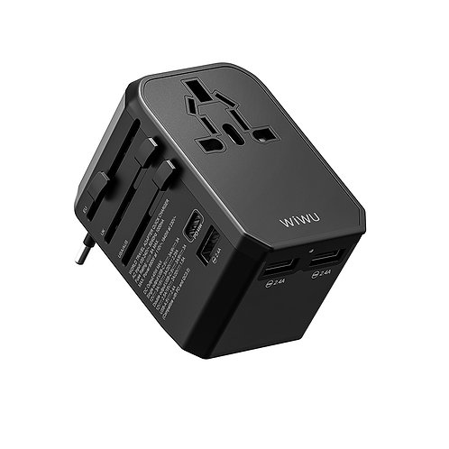 WiWU UA304 4 in 1 Universal Travel adapter 45w fast Charger adapter PD3.0