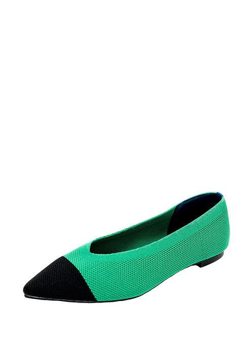 Балетки Air Point зеленый с черным носком