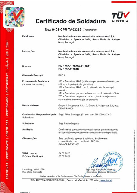 Certificado de Soldadura