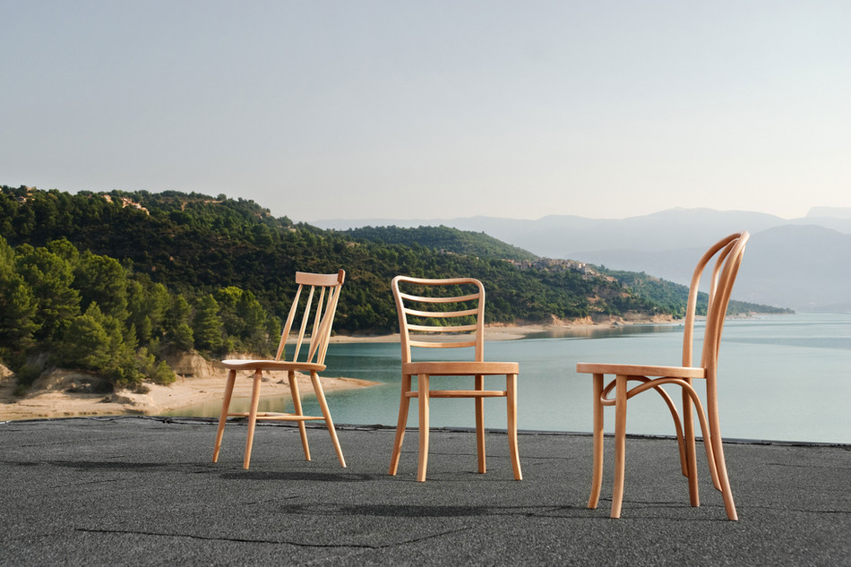 Weather-resistant beech chairs by Paged