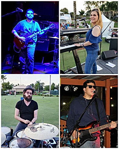 Rock Band Collage - Man with Guitar, Woman with Keyboards, Man sitting behind drum kit, Man with Dark Sunglasses and Bass Guitar