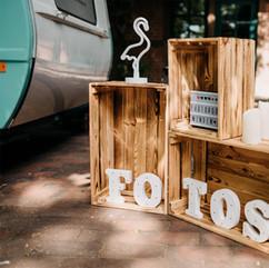 Photobooth Minden - Fotobox im Wohnwagen mit Dekoration im Hof Frien