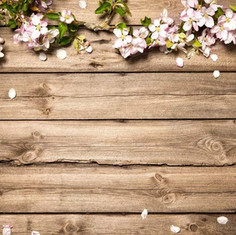 Fotobox Backdrop - Holz mit Blumen