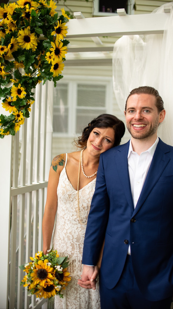 backyard wedding PA philly bride and groom