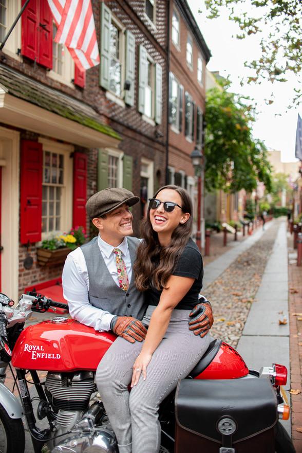 motorcycle elfreths alley philadelphia couples shoot