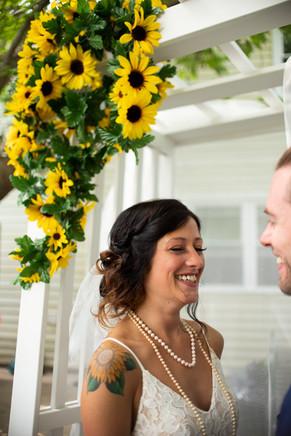 backyard wedding PA philly sunflowers bride