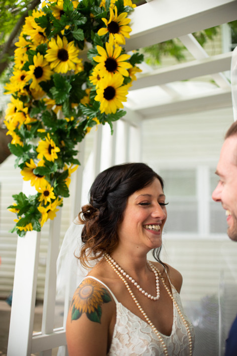 bride alter sunflowers happy philadelphia photographer