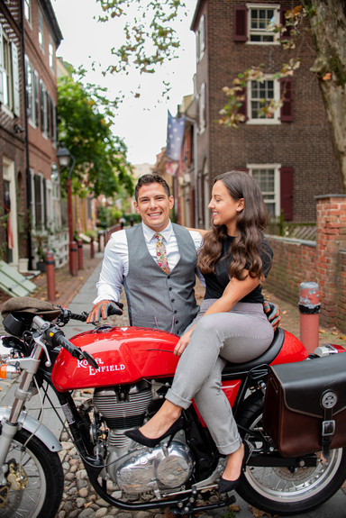motorcycle elfreths alley philadelphia couples shoot
