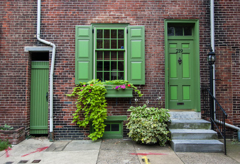 Philadelphia Doorway Green Art Print