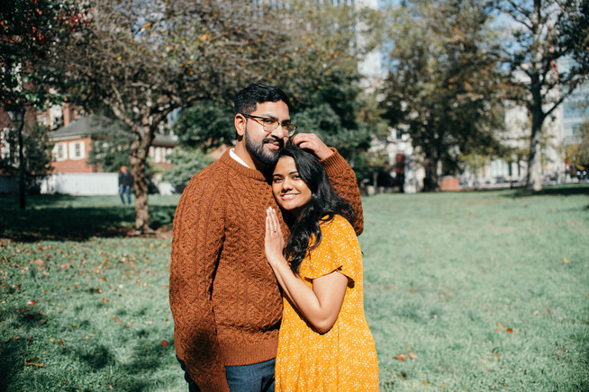 engagement shoot couple philadelphia fall autumn indian couple