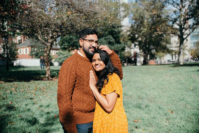 engagement shoot couple philadelphia fall autumn indian couple