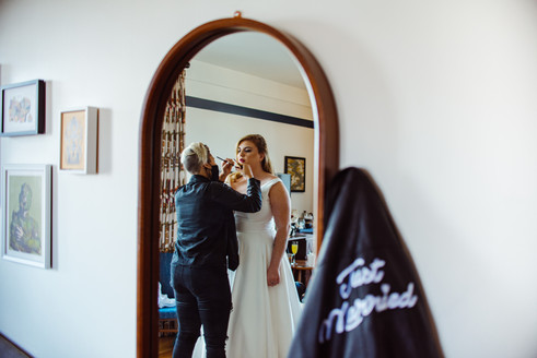 Baltimore Mirror shot bride wedding love Just Married Make-up atrists