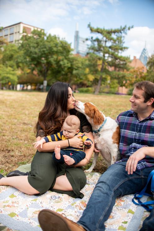 dog kiss mom family photos philly