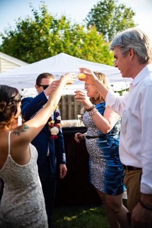 Backyard Wedding Kiss philadelphia toast philly shots