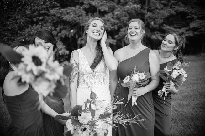bridemaids small wedding pennsylvania  black and white