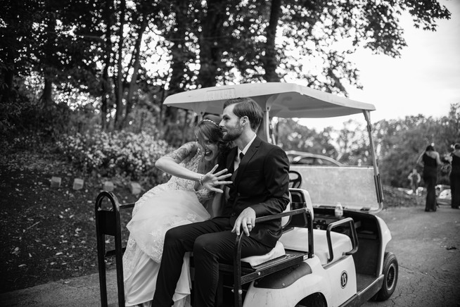 black and white wedding photography golf cart happy philly photographer