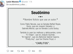 Lenín Moreno se refiere a alias 'Carlitos' en su cuenta de Twitter