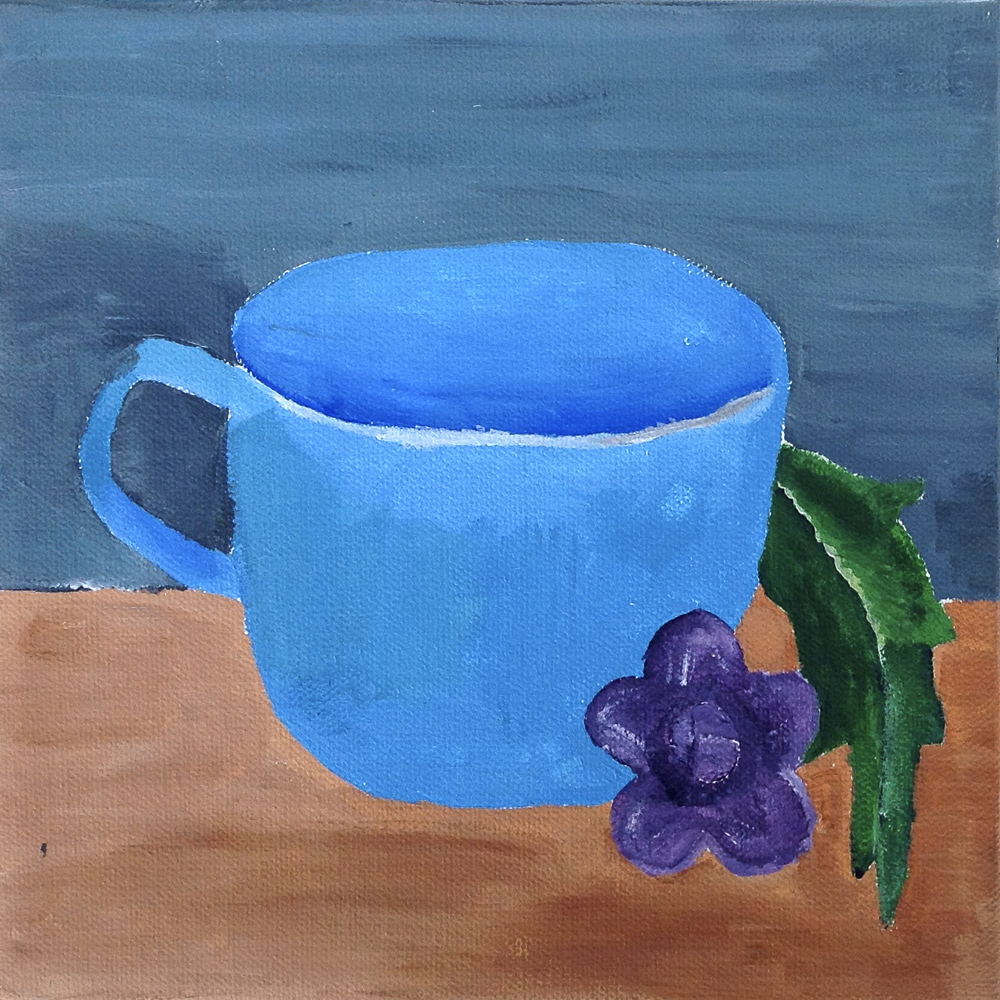 "Title: ""Blue cup on table next to leaf"""