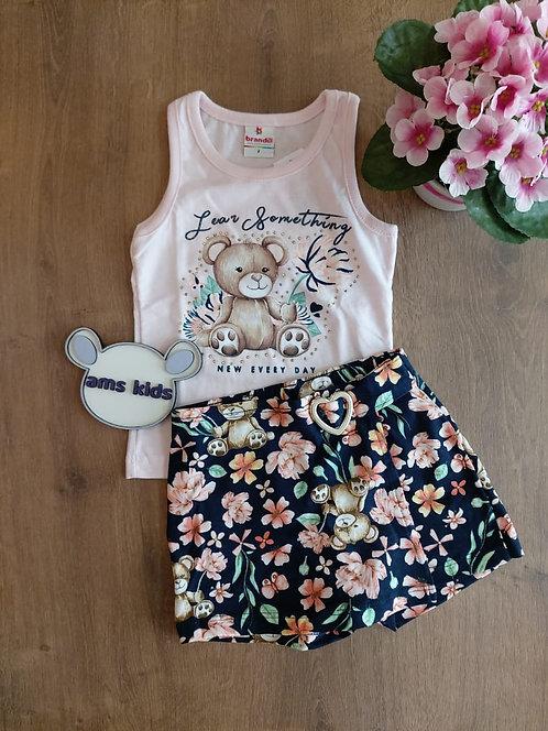 Conjunto blusa e short/saia estampado