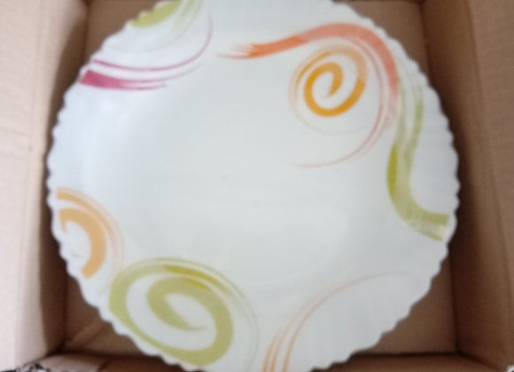Bone china dinner plates with green and orange  design
