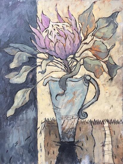 L442. Protea in blue jug