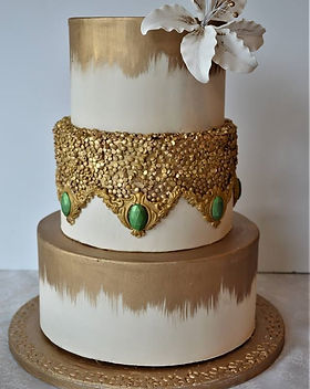 Gold and Emerald Wedding Cake.jpg