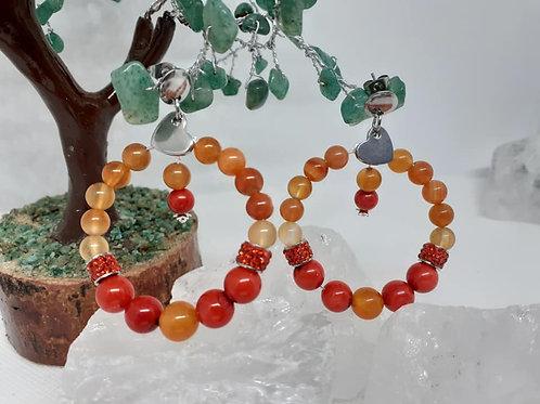 Boucles d'Oreilles Créoles Corail rouge et Cornaline Extra