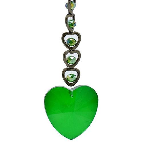 Suspension FENG SHUI Coeur en Cristal vert avec son coffret