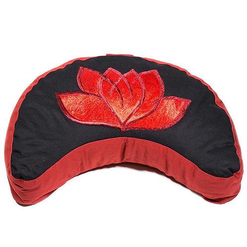 Coussin méditation 1/2 lune lotus noir et rouge