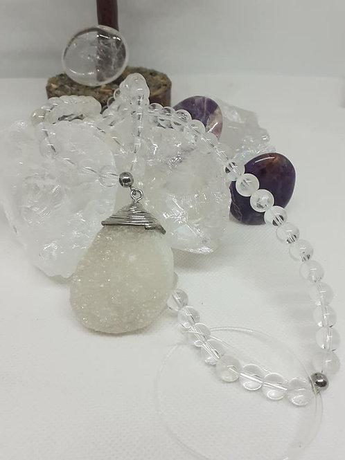 Mala Cristal de Roche et Quartz Blanc