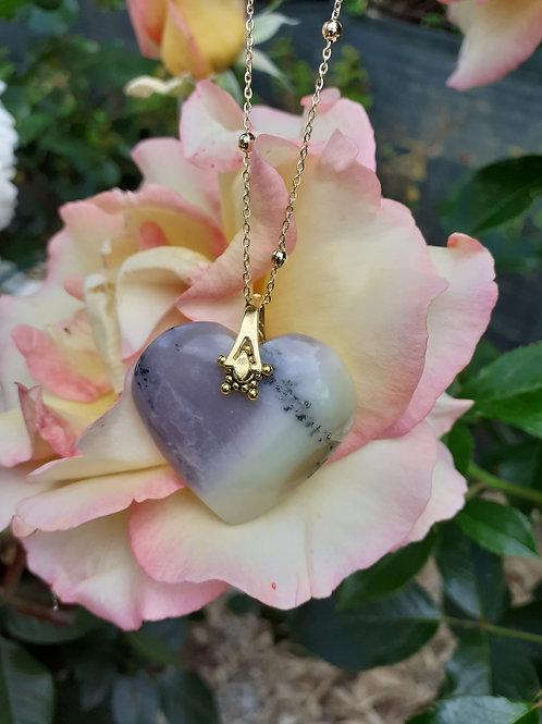 Collier Coeur Opale violette Extra