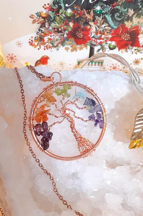 Collier Arbre de Vie aux 7 chakras doré rosé