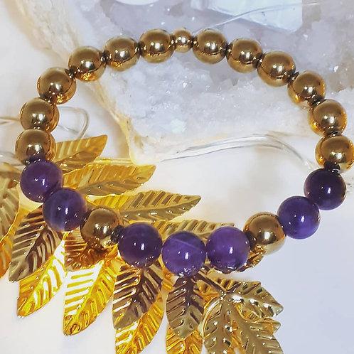 Bracelet Hématite dorée et Améthyste